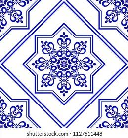 ceramic decorative tile pattern, Porcelain background design, blue and white floral decor vector illustration, beautiful ceiling backdrop