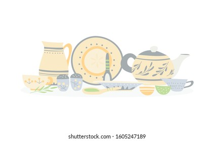 Ceramic dishes with a simple hand-made pattern: trowels, bowls, mugs, jugs, teapot