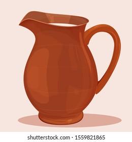 Ceramic jug with milk inside