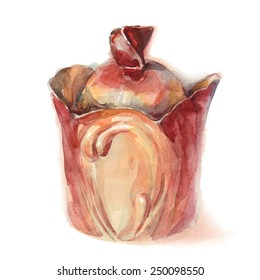 Ceramic kitchen pot. Watercolor, isolated, EPS10