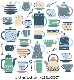 Ceramic kitchen teacup. Porcelain tea service, china teapot and plate dishes. Tea cup and spoon ceramics home dessert serving traditional tableware vector isolated icons set