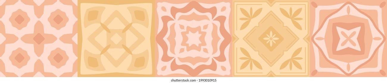Ceramic majolica tile pattern. Mediterranean Italian, Spanish geometric art for floor, kitchen, textile. Mexican talavera, portuguese azulejo, moroccan decor. Design of pottery ornaments