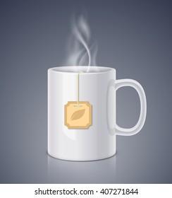 Ceramic mug and steam with tea bag. Realistic vector illustration