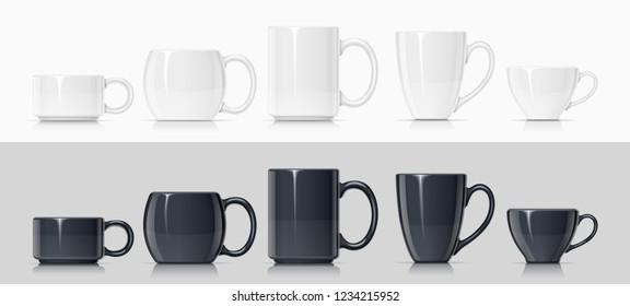 Ceramic mug for tea, coffee and hot beverage. Set of white and black cup for drink. Mock-up classic porcelain utensils. EPS10 vector illustration.