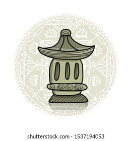 Ceramic outdoor night lamp, sketch for your design. Vector illustration