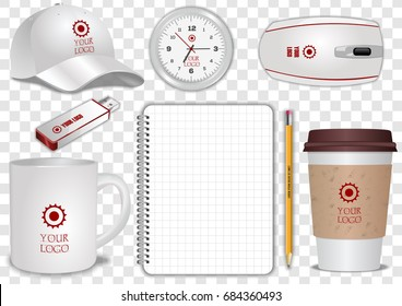 Ceramic and Paper Coffee Cup, clock, spiral notebook, pencil, computer mouse, flash drive and baseball cap isolated on transparent background. Display Mock up for corporate identity.