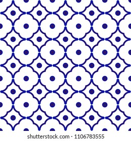 ceramic pattern China. Japan and Thailand style, Abstract flower blue and white seamless background, for design, porcelain, chinaware, ceiling, texture, wall, paper and fabric, vector illustration