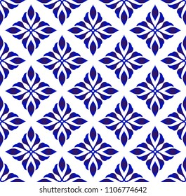 ceramic pattern motif style, Seamless porcelain decor, cute Chinaware background, blue and white flower backdrop for design floor, wallpaper, tile, texture, fabric, paper vector illustration