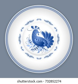 Ceramic plate with classic russian gzhel floral ornament and chicken