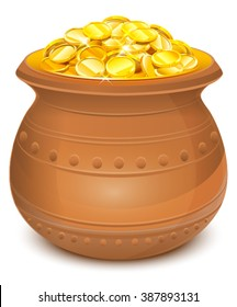 Ceramic pot with gold coins. Isolated on white vector illustration