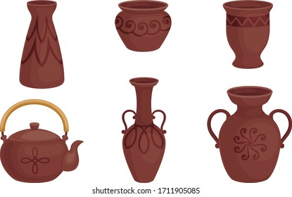 Ceramic Pottery or Utensils with Decorative Ornament Vector Set