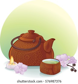 ceramic teapot and a cup with green tea. This image is a vector illustration and can be scaled to any size without loss of resolution.Image contains gradients, transparency, blending modes.