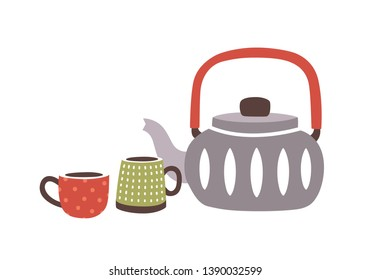 Ceramic teapot and pair of cups or mugs in hygge style isolated on white background. Delicious hot drink, natural beverage. Decorative design elements. Flat cartoon colorful vector illustration.