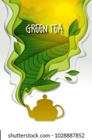Ceramic teapot with spilling aromatic green tea and tea leaves. Vector illustration in paper art style.