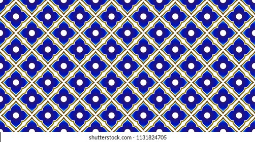 ceramic Thai pattern benjarong style, seamless porcelain blue and gold waves pattern, pottery royal background, chinaware backdrop for design, vector illustration