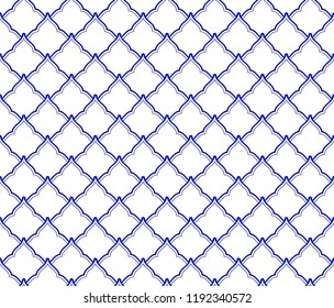 ceramic Thai pattern benjarong style, seamless porcelain blue and white waves pattern, pottery royal background, chinaware backdrop for design, vector illustration