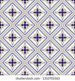 ceramic Thai pattern benjarong style, seamless porcelain blue and gold modern Islamic background, pottery royal design, chinaware backdrop, fabric texture flower decor, vector illustration
