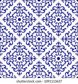 ceramic tile pattern Chinese style, Porcelain background design, blue and white floral decor, vector illustration