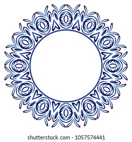 Ceramic tile pattern. Decorative round ornament. White background with art frame. Islamic, indian, arabic motifs. Porcelain pattern design. Abstract floral ornament border. Vector illustration