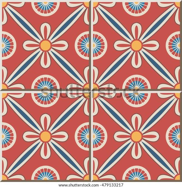 Ceramic tile pattern round cross ribbon flower
