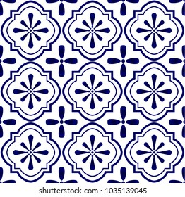 ceramic tile pattern vector, Porcelain background design, blue and white floral decor vector illustration