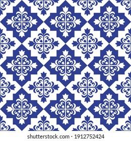 ceramic tile pattern vector, Porcelain background, blue and white floral seamless decor, vintage tiles, decorative damask wallpaper, Moroccan tiles, Spanish tableware, portugal ornament