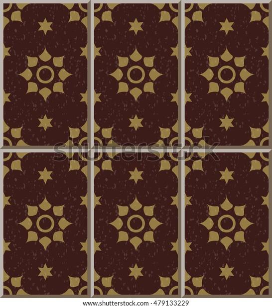 Ceramic tile pattern vermillion star round flower