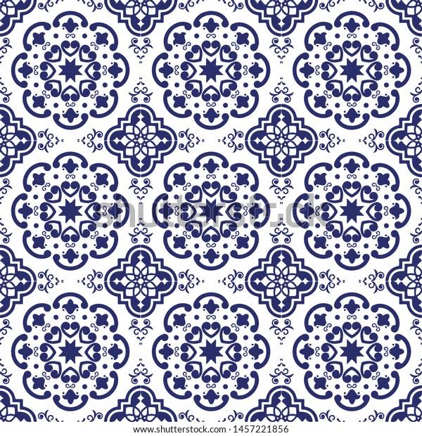 Ceramic Tile Portuguese Tiles Blue White Stock Vector Royalty Free 1457221856