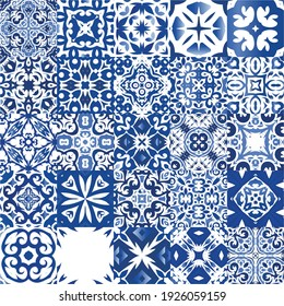 Ceramic tiles azulejo portugal. Universal design. Collection of vector seamless patterns. Blue ethnic backgrounds for T-shirts, scrapbooking, linens, smartphone cases or bags.