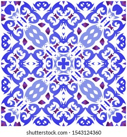 Ceramic tiles azulejo portugal. Vector seamless pattern watercolor. Minimal design. Blue ethnic background for T-shirts, scrapbooking, linens, smartphone cases or bags.