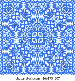 Ceramic tiles azulejo portugal. Vector seamless pattern template. Geometric design. Blue ethnic background for T-shirts, scrapbooking, linens, smartphone cases or bags.