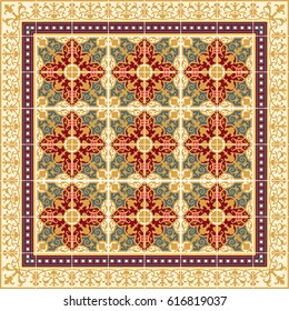 Ceramic tiles with edge vintage patterns. Vector  Color mosaic arabesque style illustration