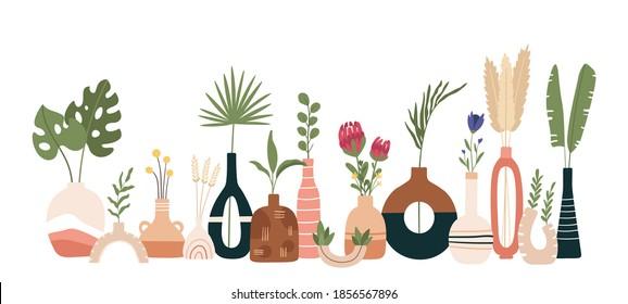 Ceramic vase poster. Scandinavian art with vases, pots and jugs. Handmade pottery kitchen banner. Minimal modern flat vector print. Scandinavian ceramic vase, floral decoration blossom illustration