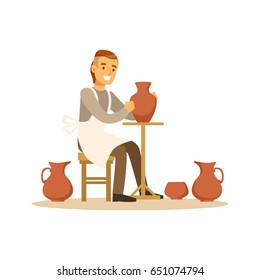 Ceramist man making ceramic pots, craft hobby or profession colorful character vector Illustration