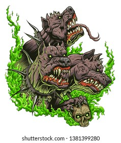 Cerberus with green fire on the white background