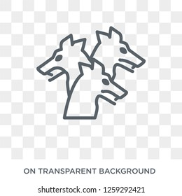 Cerberus icon. Trendy flat vector Cerberus icon on transparent background from Fairy Tale collection. High quality filled Cerberus symbol use for web and mobile