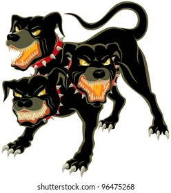 Cerberus on White: The three headed dog - Cerberus.  No transparency and gradients used.