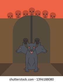 Cerberus protecting gate to the underworld, funny vector cartoon illustration of ancient Greek mythology creature