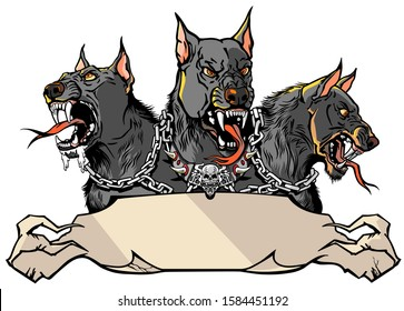 Cerberus supernatural hound of Hell. Mythological three headed dog the guard of entrance to hell. Hound of Hades. Logo, banner, emblem with ribbon scroll. Shirt design template. Graphic style vector