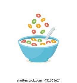 cereal bowl with splash of milk   A healthy and wholesome breakfast. flat vector illustration isolated on white background