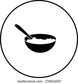 cereal bowl with spoon symbol