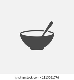 Cereal Bowl with spoon vector icon