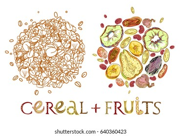 Cereal with dehydrated fruits round shape pattern. Healthy food breakfast. Fully editable vector illustration with lettering.