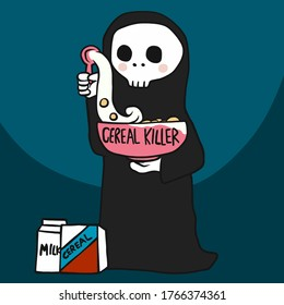 Cereal killer, the death with cereal bowl cartoon vector illustration