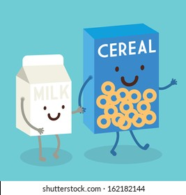 cereal and milk vector/illustration