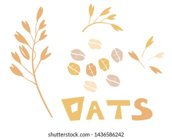 Cereal plants, agriculture industry organic crop products for oat groats flakes, oatmeal packaging design. A handful of oats seed. Template for banner, card, poster, print and other design projects.