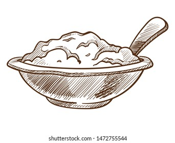 Cereal or porridge in bowl with spoon isolated sketch healthy nutrition vector grains cooking and culinary recipe breakfast monochrome drawing dish, or meal oatmeal natural food and ingredients