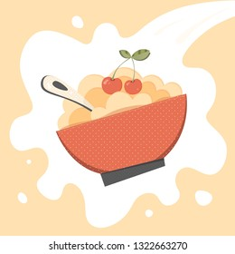 Cereal, porridge vector. Porridge, cereal bowl retro vector illustration for menu, package, ad, print. Millet porridge, cereal bowl with cherry, spoon. Cereal bowl, millet porridge on vector milk.