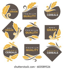 Cereal products vector logo templates set for muesli or organic porridge and flour. Symbols of wheat or rye ears and grain, buckwheat and oat or barley millet and rice