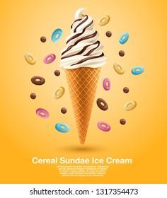 Cereal Sundae Soft Serve : Vector Illustration